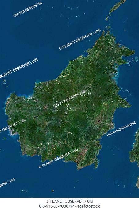 Satellite view of Borneo. The island is divided among three countries: Malaysia and Brunei in the north, and Indonesia to the south