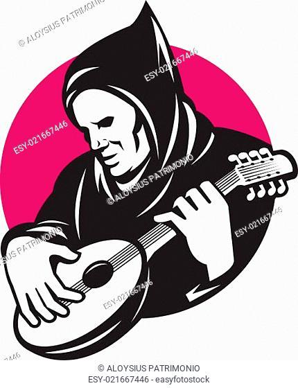 Hooded Man Playing Banjo Guitar