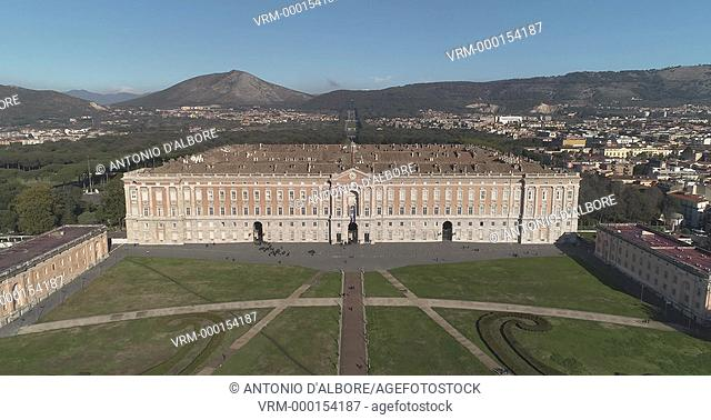 Aerial view of the facade of the royal palace of Caserta. Caserta Municipality. Campania. Italy