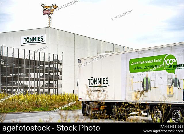 A truck drives to the grounds, headquarters of the Toennies group in Rheda-Wiedenbrueck on July 27th, 2020.    usage worldwide