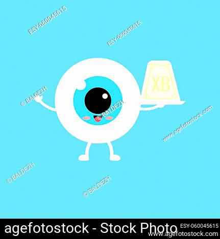 Easter cute eye ball curd easter on white plate icon. Ophthalmology easter eyeball character with sweet chesse cottage dessert