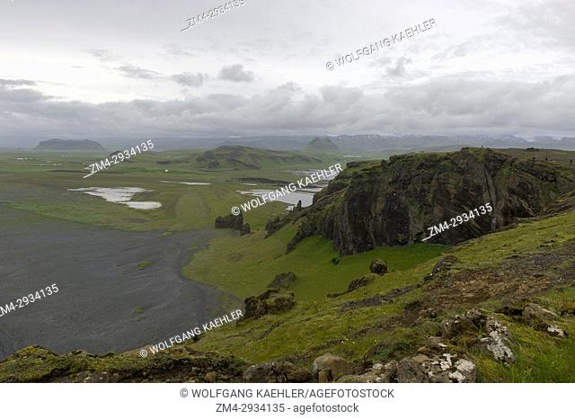 View westwards from top of Dyrholaey, a small peninsula, or promontory, is located on the south coast of Iceland, not far from the village Vík