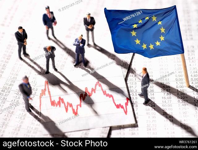 Manager mit Diagramm und der Flagge der Europäischen Union