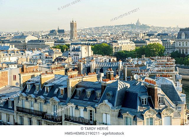 France, Paris, with panoramic views of Paris, in the foreground, the Tour Saint Jacques and le Sacré Coeur (aerial view)
