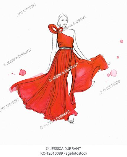 Fashion model modeling flowing red evening gown