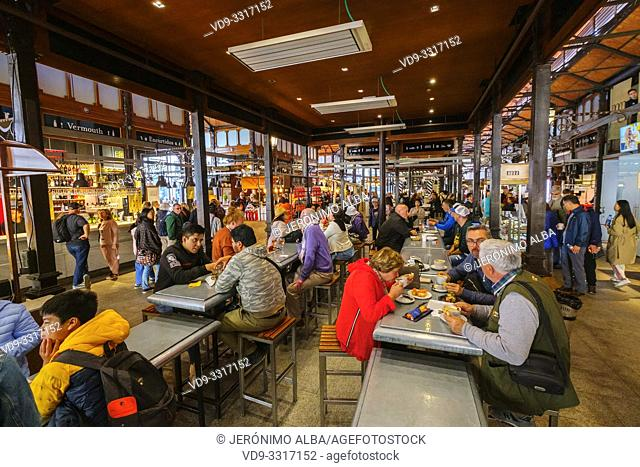 Mercado de San Miguel. Typical gastronomic market specialized in tapas. Madrid city, Spain. Europe
