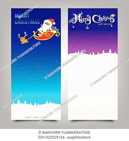 026-Merry Christmas santa banner collection for greeting card
