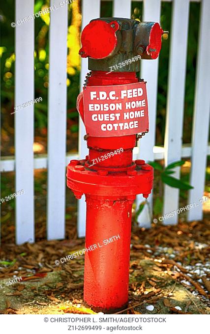 F. D. C. Feed Edison Home, Guest Home Cottage hydrant in Fort Myers, FL
