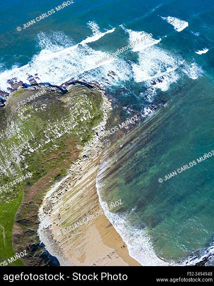 Aerial view of Cabo de Oyambre, San Vicente de la Barquera, Cantabrian Sea, Cantabria, Spain, Europe