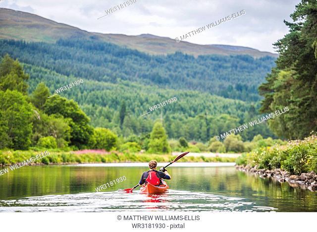 Canoeing the Caledonian Canal, near Fort Augustus, Scottish Highlands, Scotland, United Kingdom, Europe