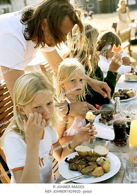 Family eating outdoor