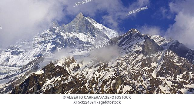 Machapuchare Holy Mountain, Fish Tail, Machapuchare Base Camp Area, Trek to Annapurna Base Camp, Annapurna Conservation Area, Himalaya, Nepal, Asia