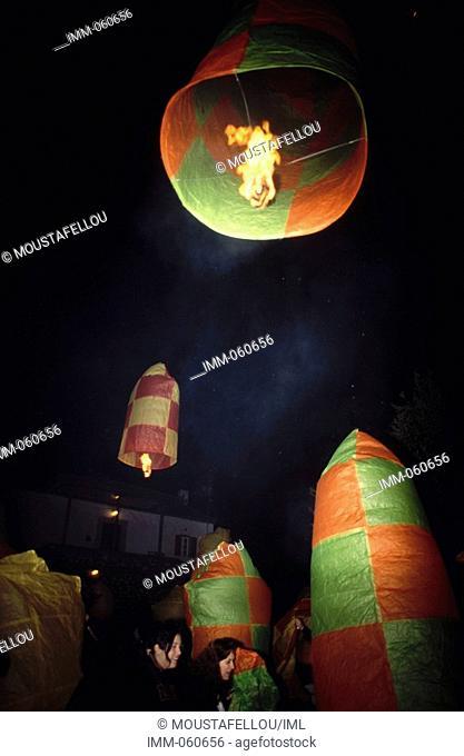 Peloponnese, Arcadia, Leonidio Easter, Anastasi ceremony, balloons