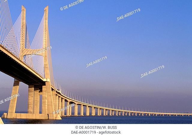Vasco da Gama Bridge over the Tagus river, 1998, connecting Montijo and Sacavem, Lisbon. Portugal, 20th century