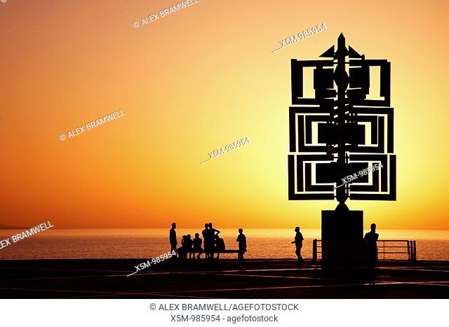 Sculpture by Cesar Manrique at sunset on the promenade in Las Palmas, Gran Canaria, Spain