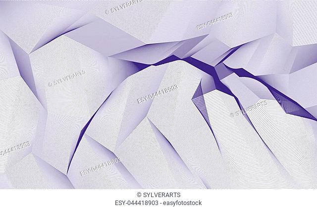 Abstract vector background with fantastic landscape terrain of cosmic planet, geometric 3d line art abstract background of skyline