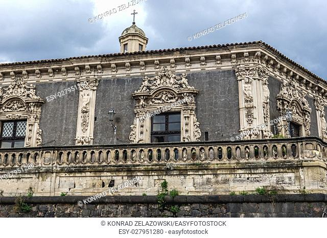 Palazzo Biscari and Charles V walls in Catania city on the east side of Sicily Island, Italy. View from Via Cardinale Dusmet street