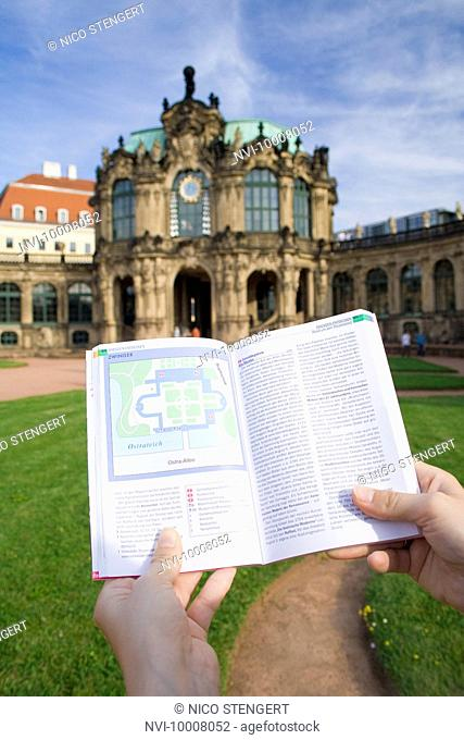 Guidebook showing map of the Zwinger Palace, Dresden, Saxony, Germany