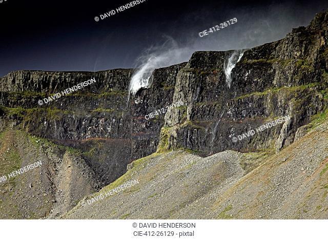 Water splashing over cliffs, Raudasandur, Iceland