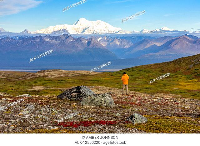 Man taking in the view, backpacking on the Kesugi Ridge Trail, Denali State Park, in the autumn with the Alaska Range in the background