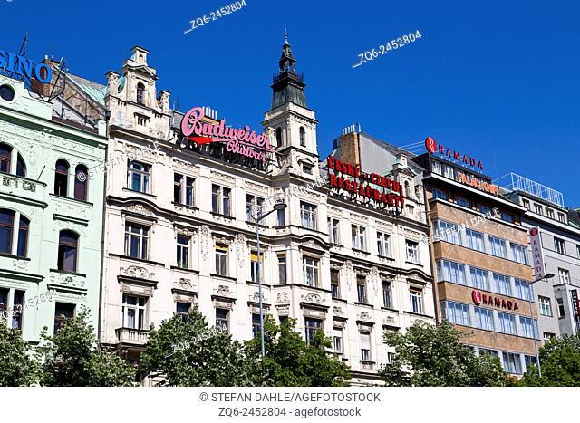 Historical Facades on Wenceslas Square in Prague, Czech Republic