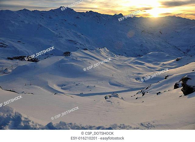 mountain snow sunset