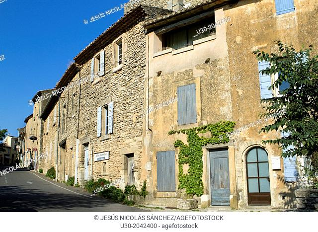 Street of Gordes village, labeled The Most Beautiful Villages of France, Vaucluse department, Provence-Alpes-Cote d'Azur region. France