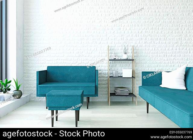 White Contemporary Interior Art Room with Turquoise Sofa, Armchair, Pouf, Wooden Shelf and Plants near the Brick Wall, Elegant Decor