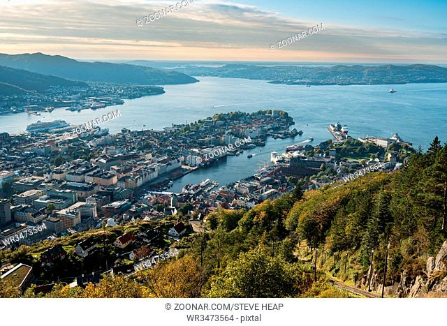 Overview of Bergen cityscape from the top of Floyen mountain in Norway