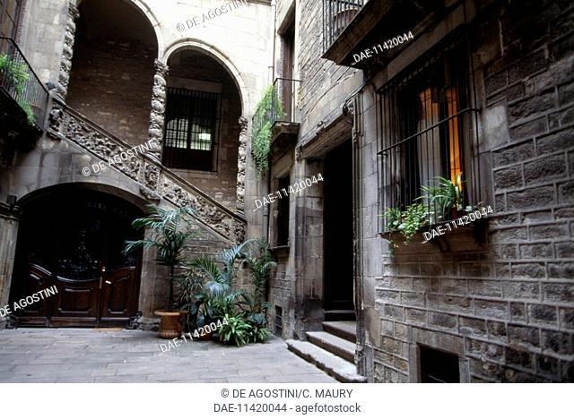 Courtyard of Palau Dalmases, Carrer Montcada, Barcelona, Catalonia. Spain, 17th century