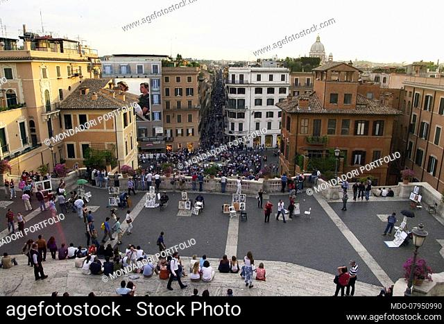 Overview of the flowery Trinita 'dei Monti staircase. Rome (Italy), July 23, 2018