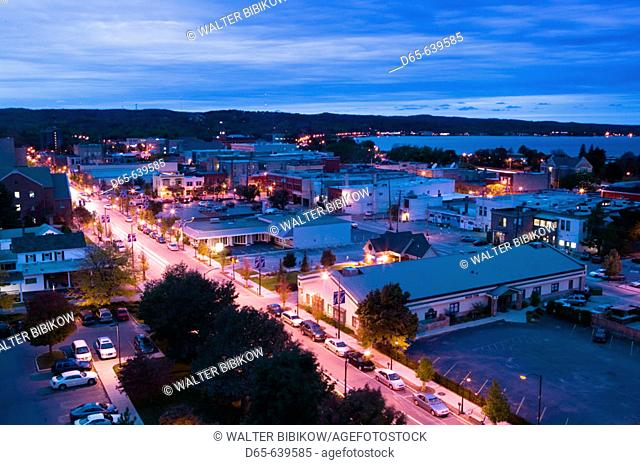 Overhead Evening View of Traverse City. Lake Michigan Shore. Michigan. USA