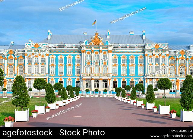 Catherine Palace in Tsarskoe Selo by sunny day, suburb of St.Petersburg, Russia. Construction 1752-1756 years