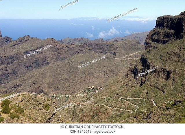 twisting road to the village of Masca in the Teno mountain massif, Tenerife, Canary Islands, Atlantic Ocean