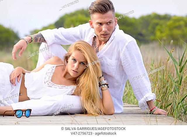 Couple of models posing in the Albufera Natural Park, Valencia Spain, Europe