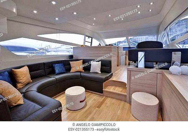 Italy, sicily, Naples, luxury yacht, dinette, Abacus 52&#039 , Abacus boatyard