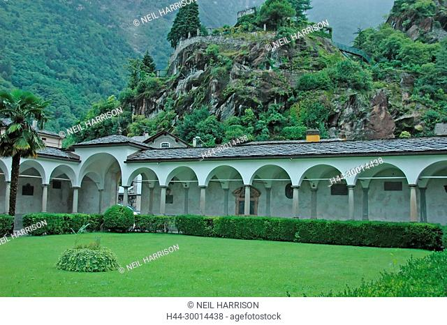 the cloister of San Lorenzo and behind the botanic gardens of Chiavenna in northern Italy, on a stormy day
