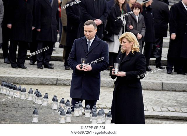 Poland, Auschwitz, 01.27.2016 Commemoration of the liberation 71.Jahrestag of Auschwitz-Birkenau. Poland's President Andrzej Duda and Kolinda Grabar-Kitarovic'...