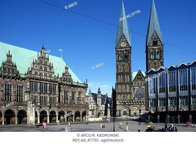 Town hall St. Petri Cathedral and Haus der Burgerschaft at Market Square Bremen Germany
