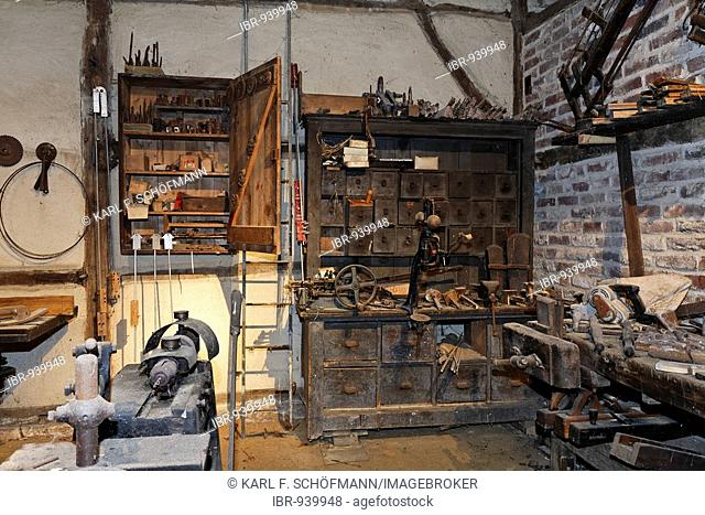 Carpenters workshop from 1920, 'Niederrheinisches Freilichtmuseum Grefrath Museum', Lower Rhine region, North Rhine-Westphalia, Germany, Europe