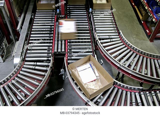Mail-order sales, warehouse, conveyer belt,  Carton, frankly, Konfektionierung,  Fuzziness Series, delivery department, camps, catalog distribution plants