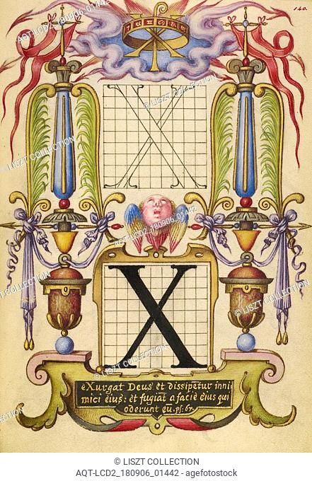 Guide for Constructing the Letter X; Joris Hoefnagel (Flemish , Hungarian, 1542 - 1600); Vienna, Austria; about 1591 - 1596; Watercolors, gold and silver paint