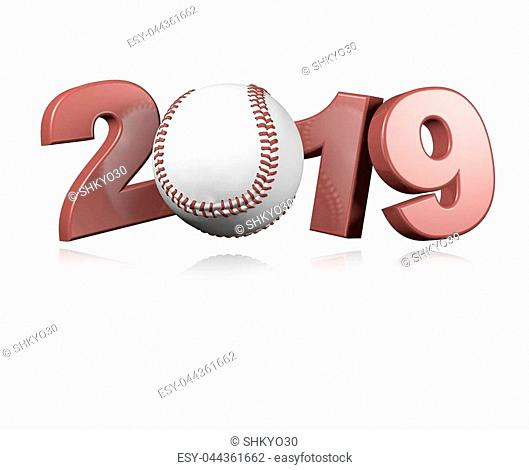 Baseball 2019 Design with a White Background