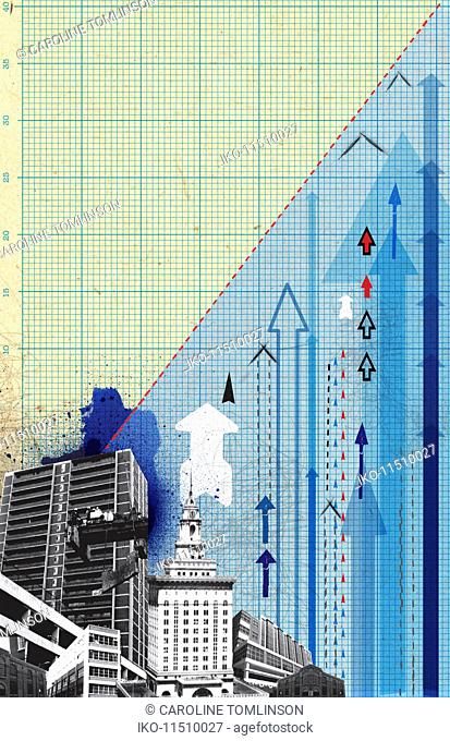 Urban cityscape with arrows on graph paper