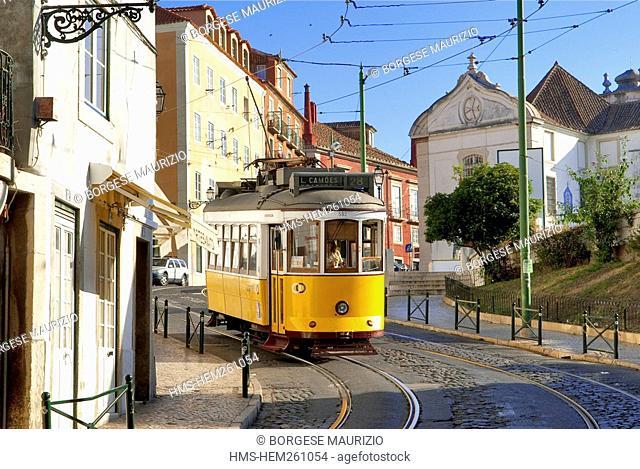 Portugal, Lisbon, Alfama District, tramway along the Largo da Limoeiro