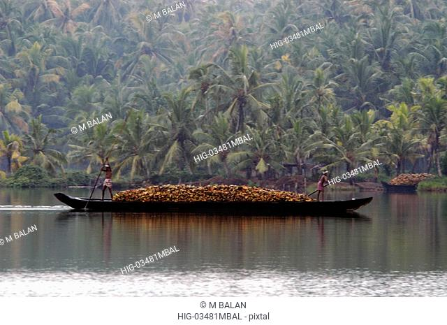 TRANSPORTING COCONUT SHELLS THROUGH THE BACKWATERS VARKALA