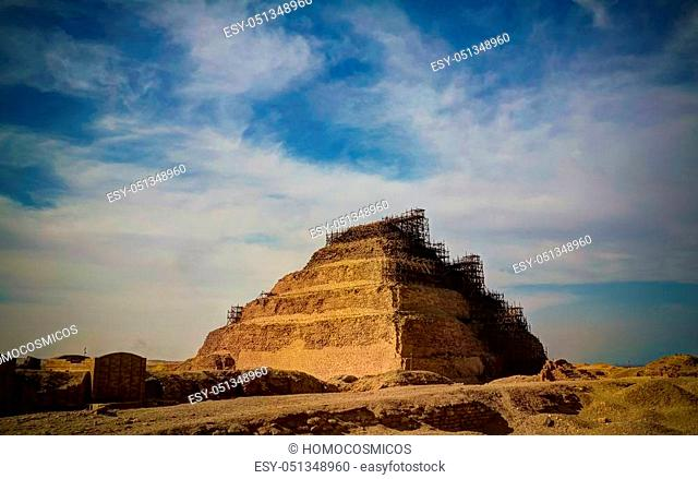 Exterior view to step pyramid of Zoser at Saqqara, Egypt