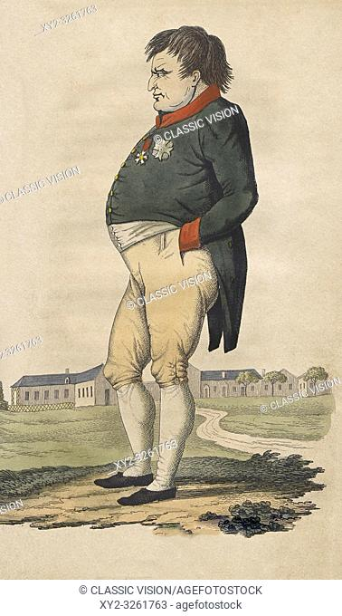 Caricature of Napoleon Bonaparte on St. Helena made two months before he died on May 5, 1821. After a 19th century print