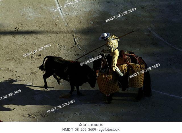 High angle view of a matador on horseback fighting a bull, Provence, France