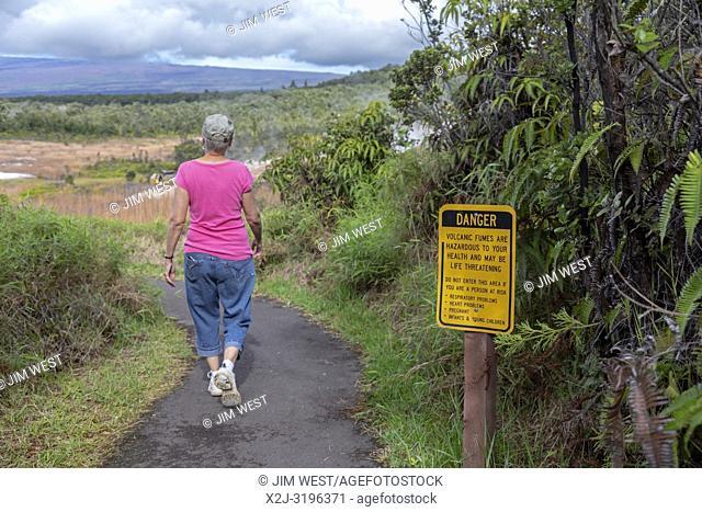 Hawaii Volcanoes National Park, Hawaii - A sign warns of hazardous fumes from sulphur banks near the Kilauea volcano